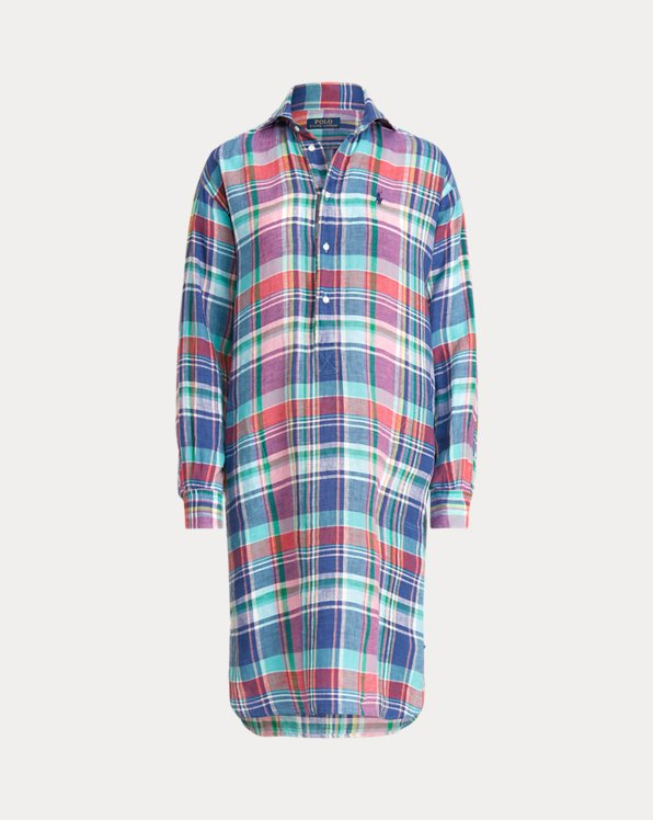 Plaid Linen Shirtdress