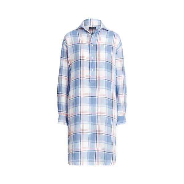 폴로 랄프로렌 Polo Ralph Lauren Plaid Linen Shirtdress,White/ Blue