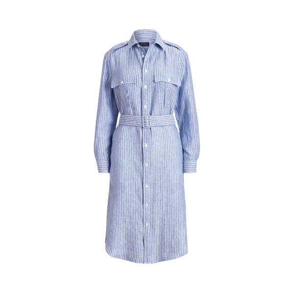 폴로 랄프로렌 Polo Ralph Lauren Striped Linen Shirtdress,Blue/White Stripe
