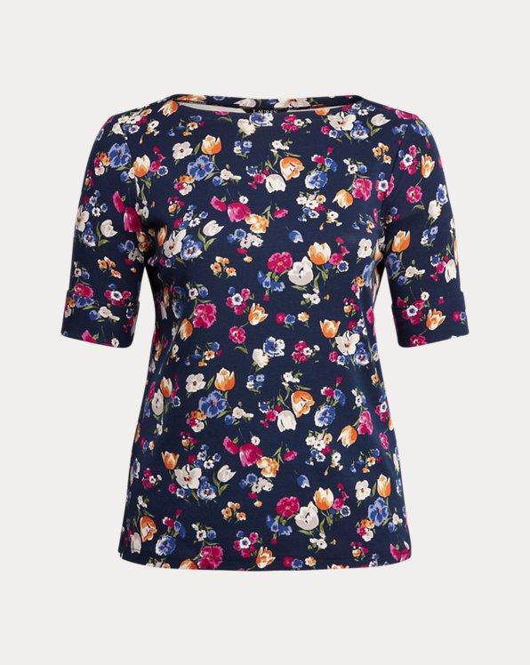 Floral Cotton-Blend Boatneck Top