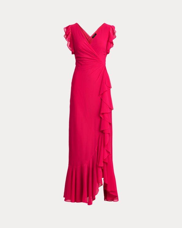 Ruffle-Trim Georgette Gown