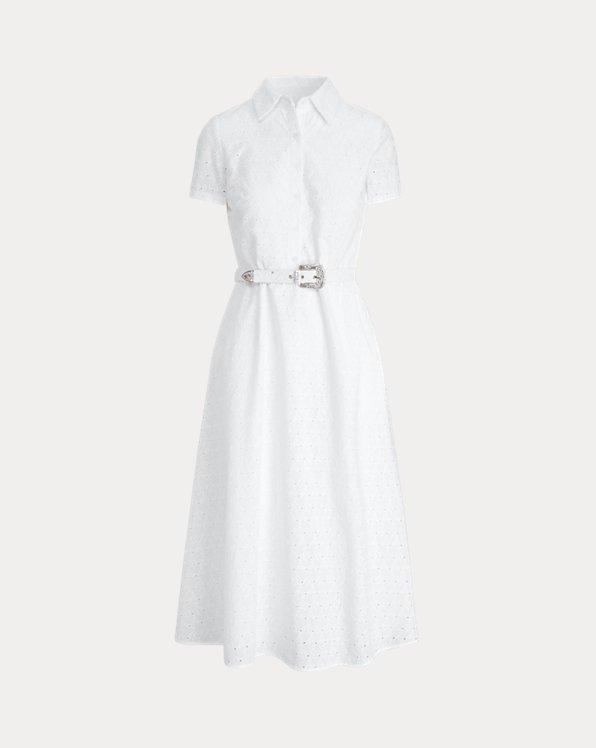 Hemdkleid mit Lochstickerei und Gürtel