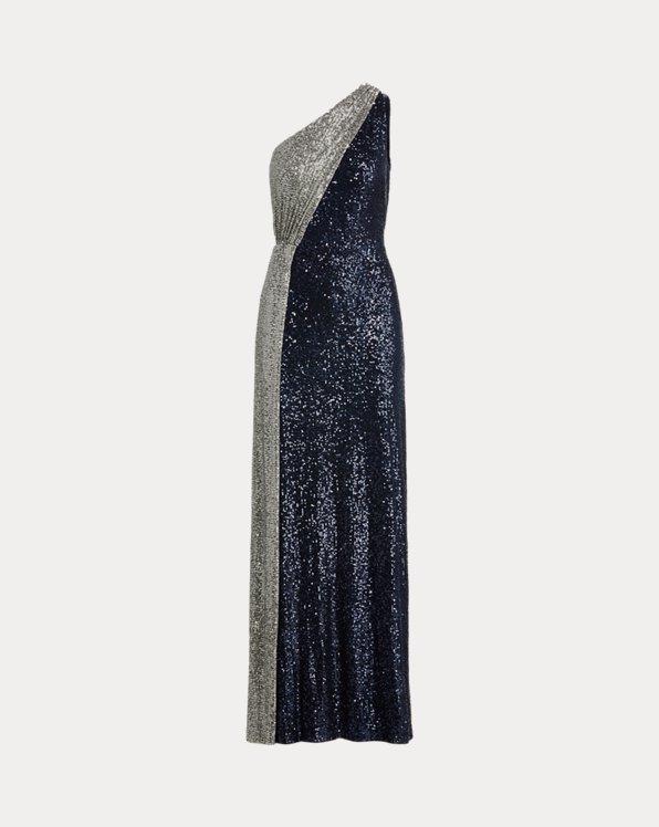 Einschultriges Kleid mit Pailletten