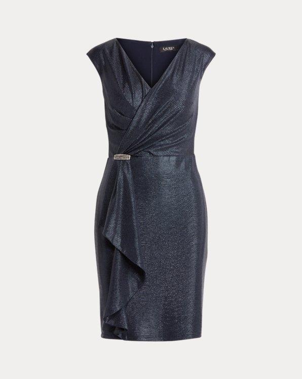 Ruffle-Trim Metallic Cocktail Dress