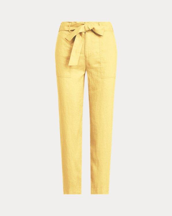 Pantalón de lino con cinturón