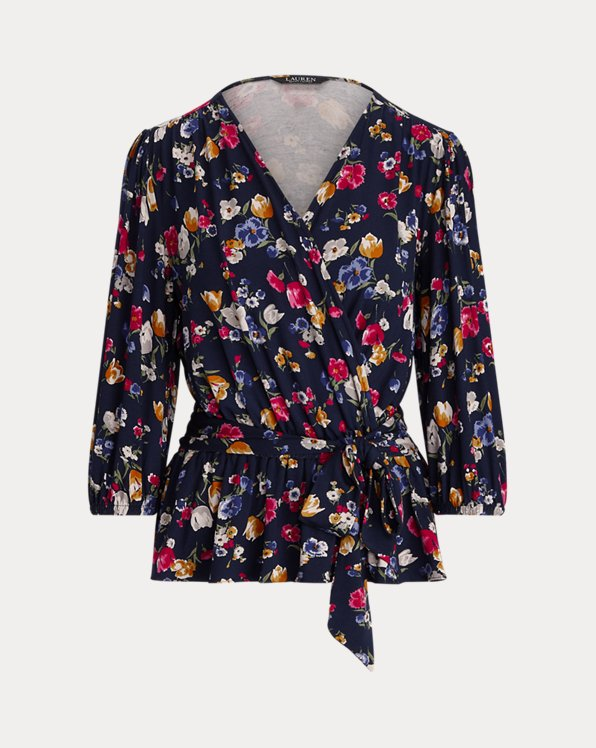 Floral Jersey Faux-Wrap Peplum Blouse