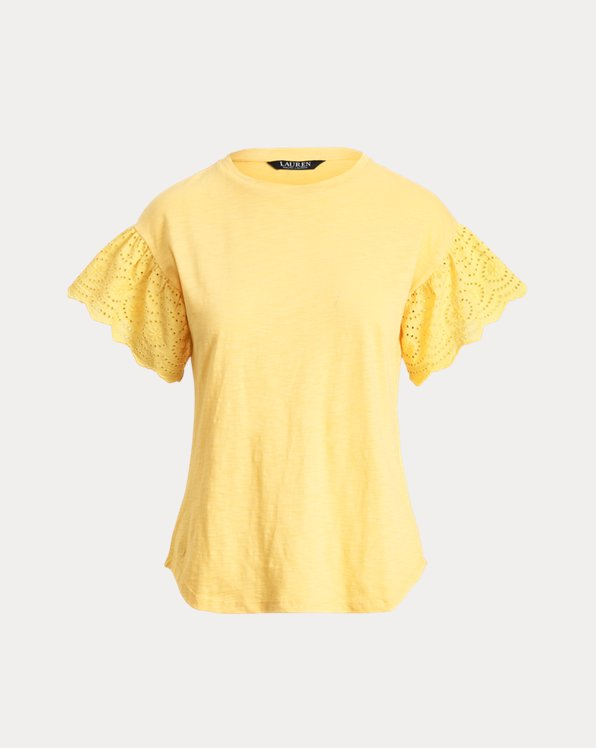 Flutter-Sleeve Slub Jersey Top