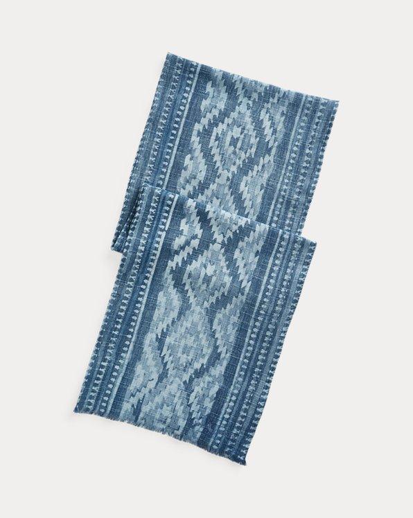 Indigo Geometric Cotton Scarf