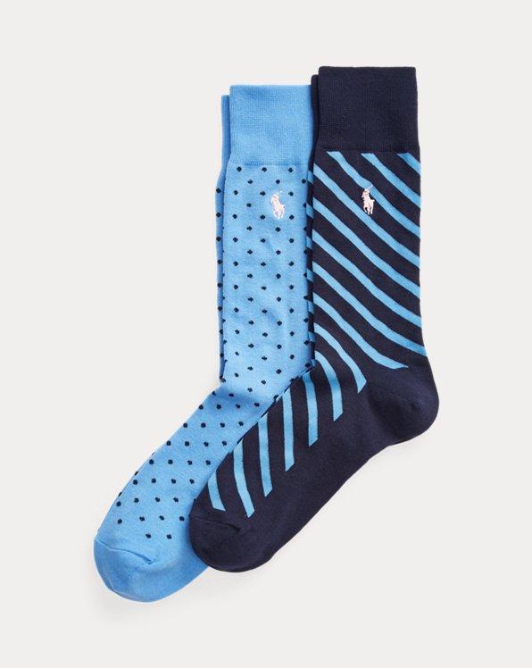 2 paires de chaussettes à pois et rayées