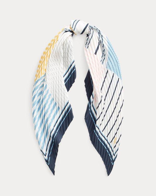 Striped Pleated Silk-Blend Scarf