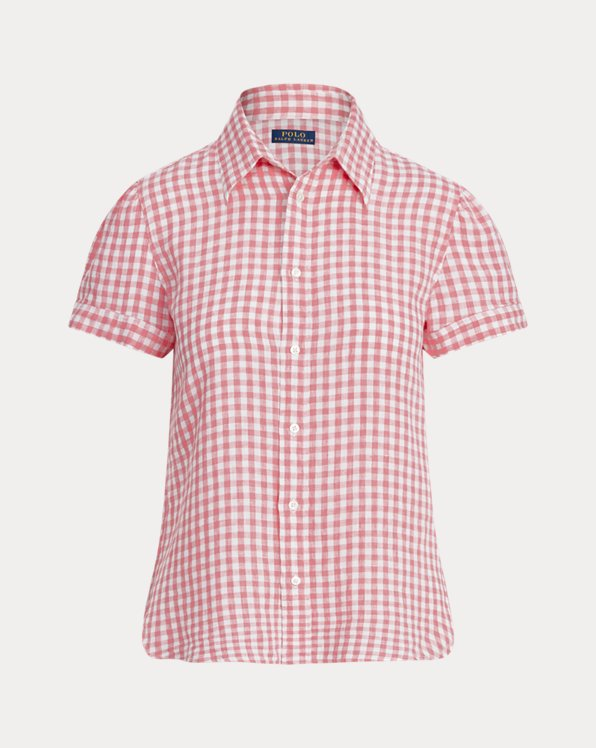 Gingham Linen Short-Sleeve Shirt