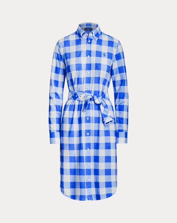 Plaid Cotton Oxford Shirtdress