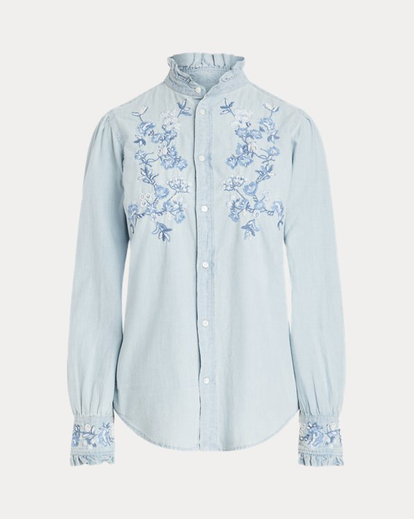 Ruffle-Trim Embroidered Chambray Shirt