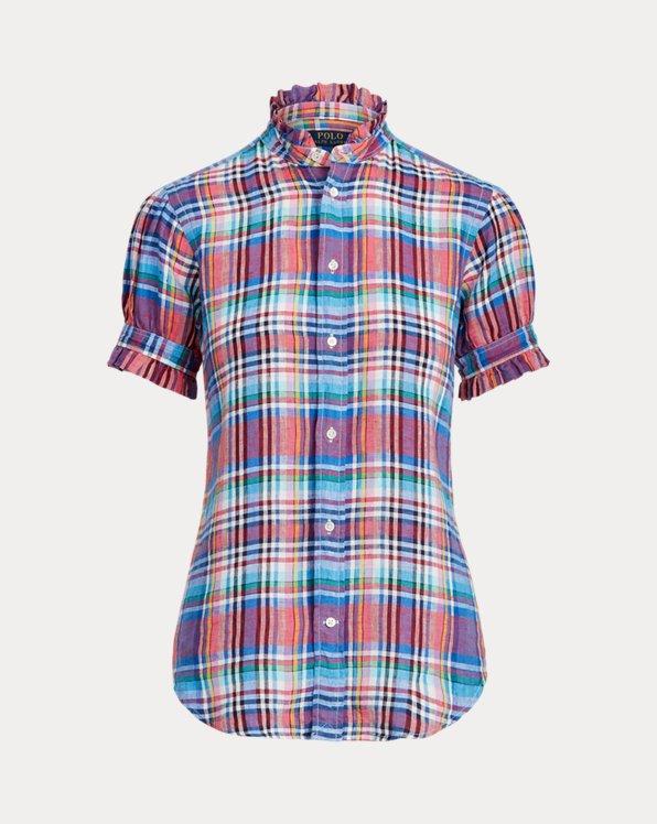 Camisa de lino con ribete de volantes