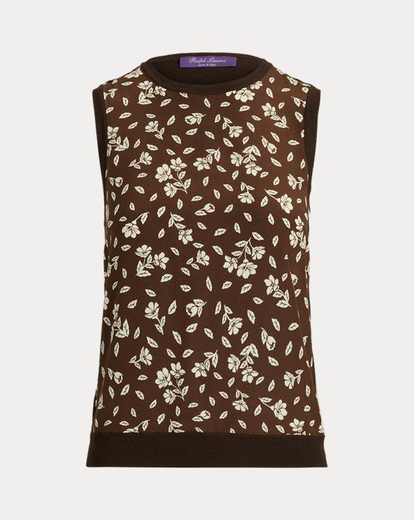 Floral Wool-Silk Sleeveless Sweater