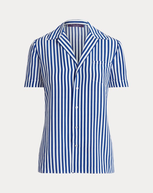 Carney Striped Silk Short-Sleeve Shirt