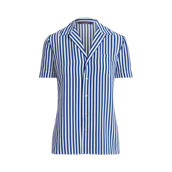 Ralph Lauren Silks CARNEY STRIPED SILK SHORT-SLEEVE SHIRT