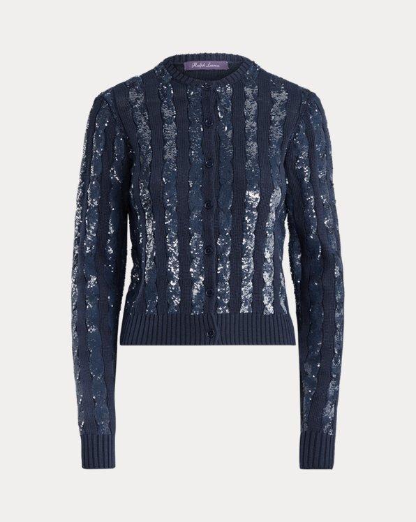 Sequined Silk Cardigan Sweater