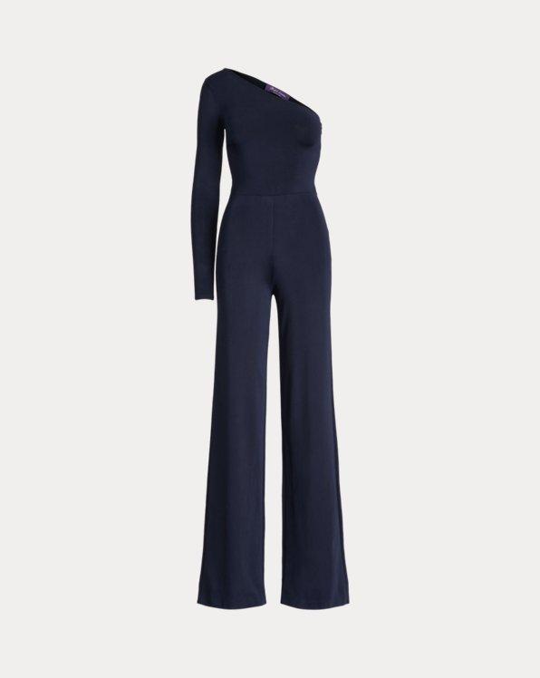 Belted Knit One-Shoulder Jumpsuit