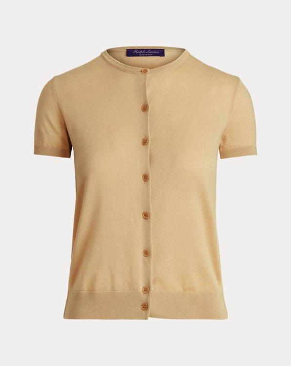Cashmere Short-Sleeve Cardigan Sweater