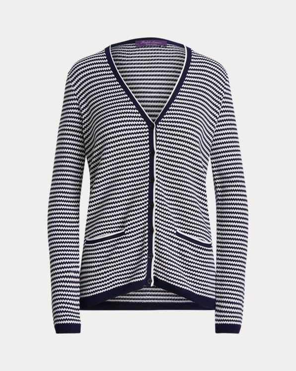 Striped Silk V-Neck Cardigan Sweater