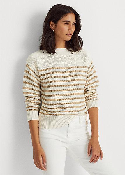 Polo RalphLauren Striped Cotton Boatneck Sweater