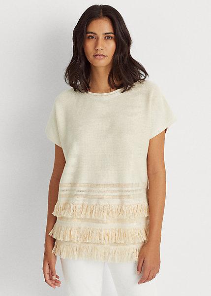 Polo RalphLauren Fringe-Trim Linen-Blend Sweater