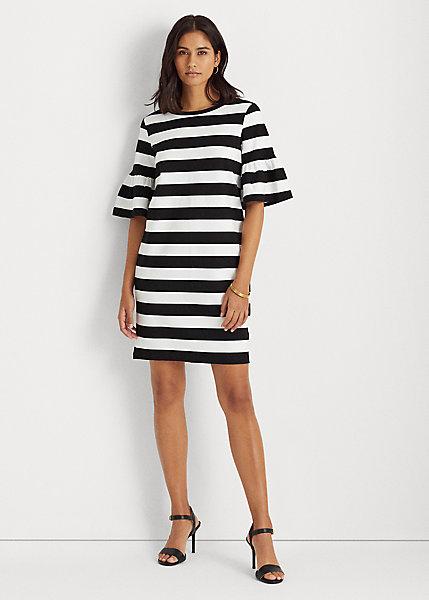 Polo RalphLauren Striped Elbow-Sleeve Ponte Dress