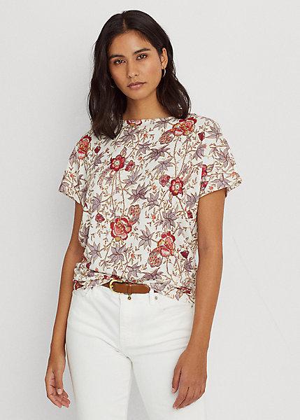 Polo RalphLauren Floral Linen Jersey Short-Sleeve Top