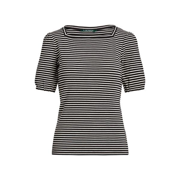 Lauren Striped Puff Sleeve Stretch Cotton Top,Black/Mascarpone Cream