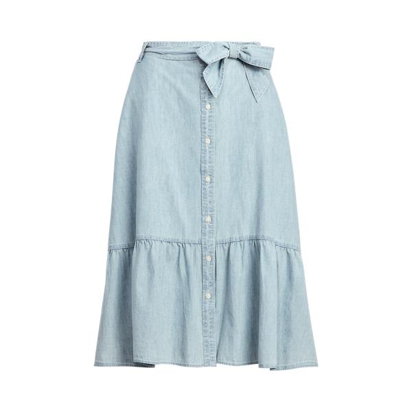 Lauren Ruffled Chambray Skirt,Blue Lagoon Wash