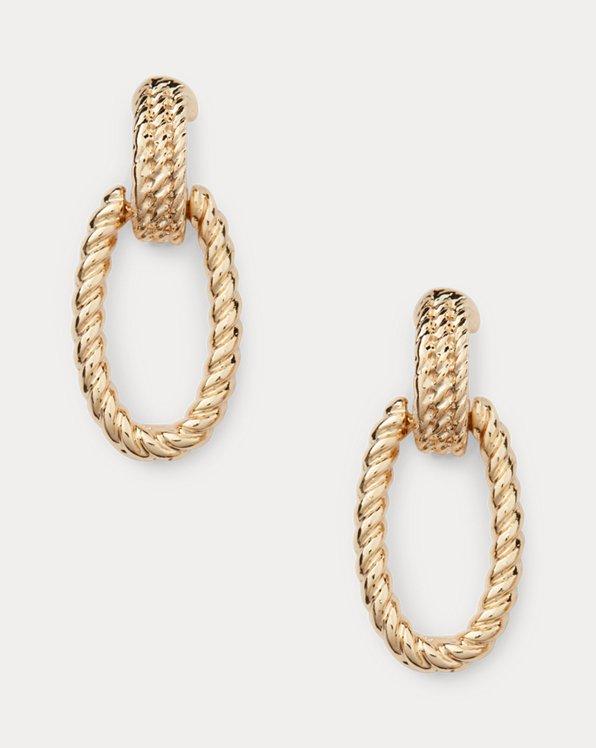 Pendants d'oreilles en corde dorés