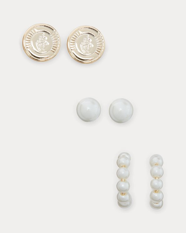 Gold-Tone Crest & Faux-Pearl Earring Set