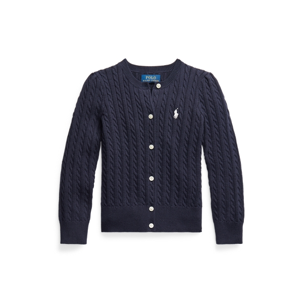 폴로 랄프로렌 여아용 꽈배기 가디건 Polo Ralph Lauren Mini-Cable Cotton Cardigan,RL Navy