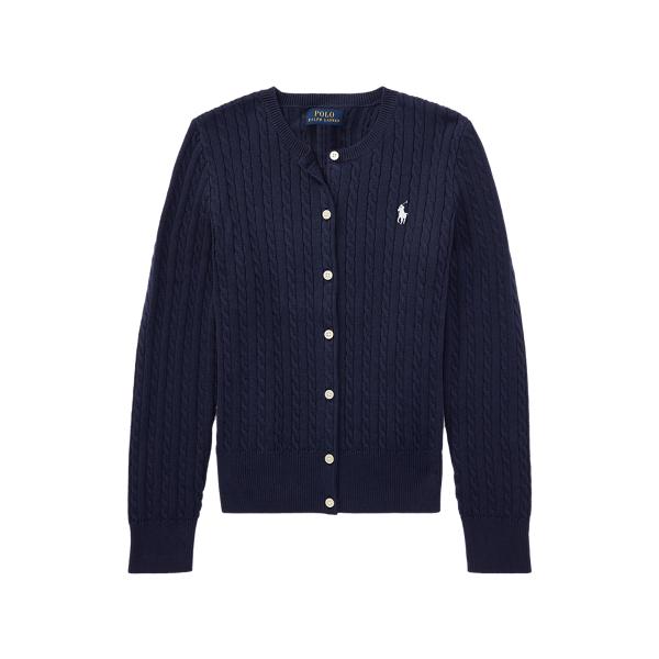 폴로 랄프로렌 걸즈 미니 꽈배기 코튼 가디건 Polo Ralph Lauren Mini-Cable Cotton Cardigan,RL Navy