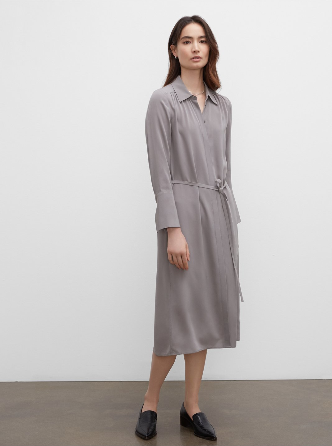 Shirred Back Shirt Dress