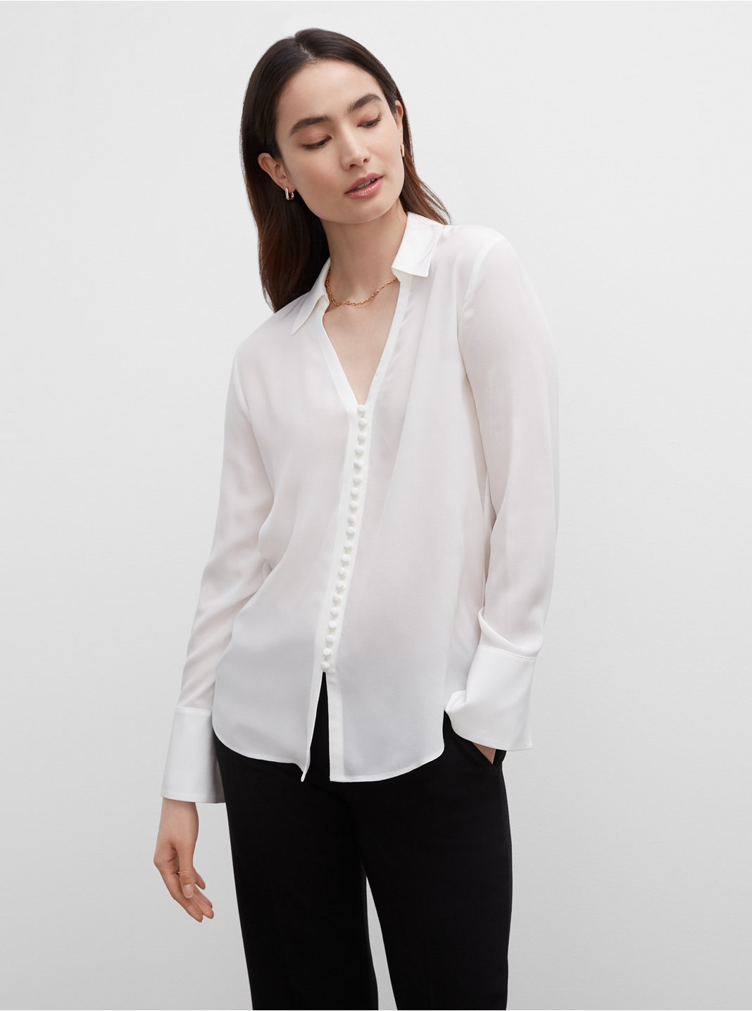 Open Neck Silk Button Down Blouse