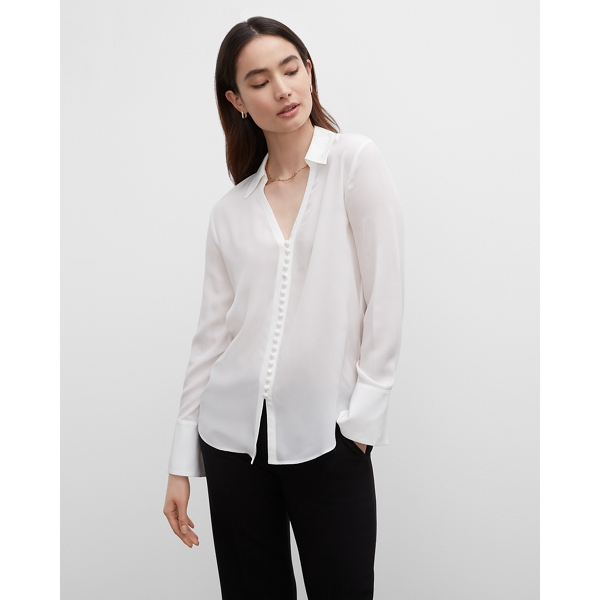 Club Monaco OFF WHITE OPEN NECK SILK HELEK BUTTON DOWN BLOUSE IN SIZE XXS