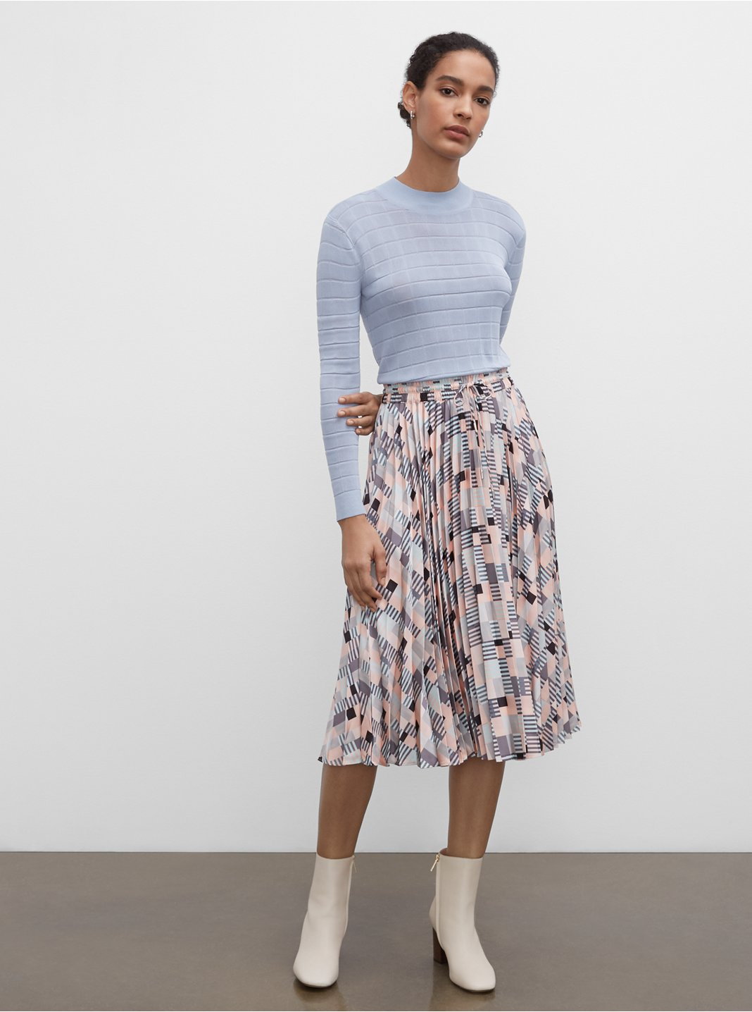 Geo Printed Pleated Skirt