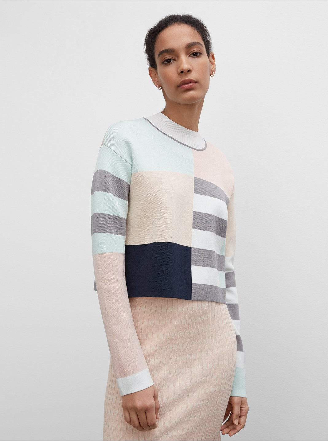 Geo Mix Mockneck Sweater