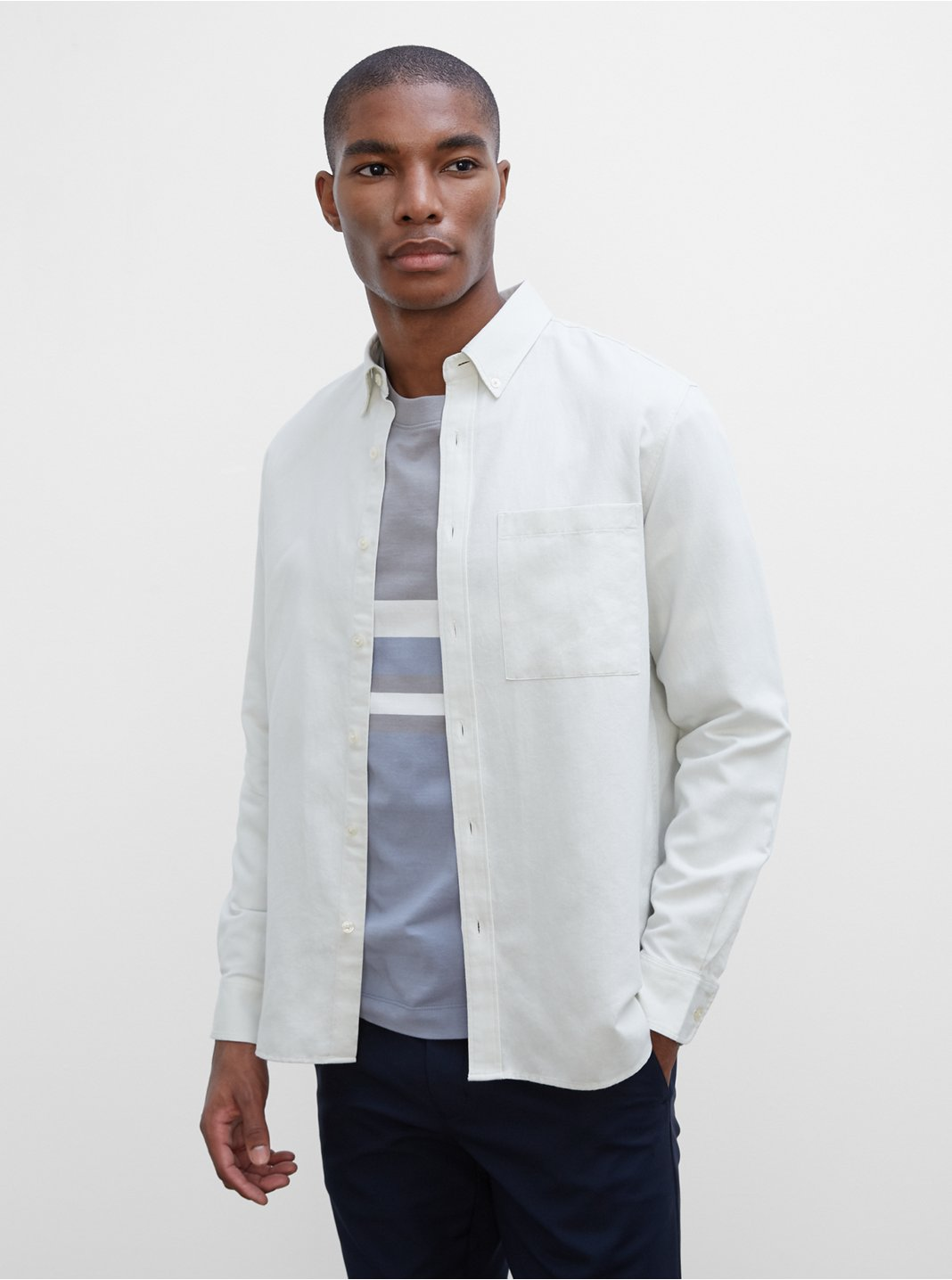 Long Sleeve Solid Twill Shirt