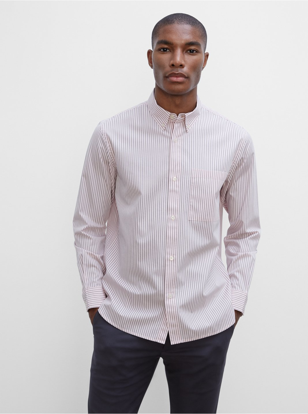 Long Sleeve Poplin Thin Stripe Shirt