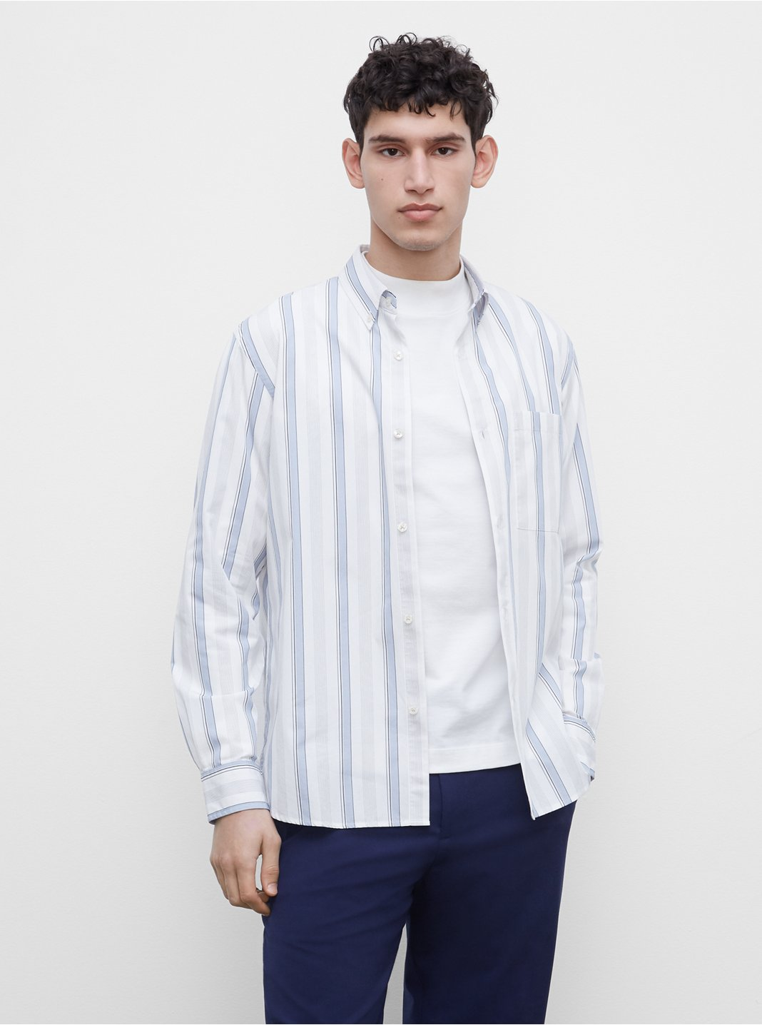 Long Sleeve Poplin Multi Stripe Shirt