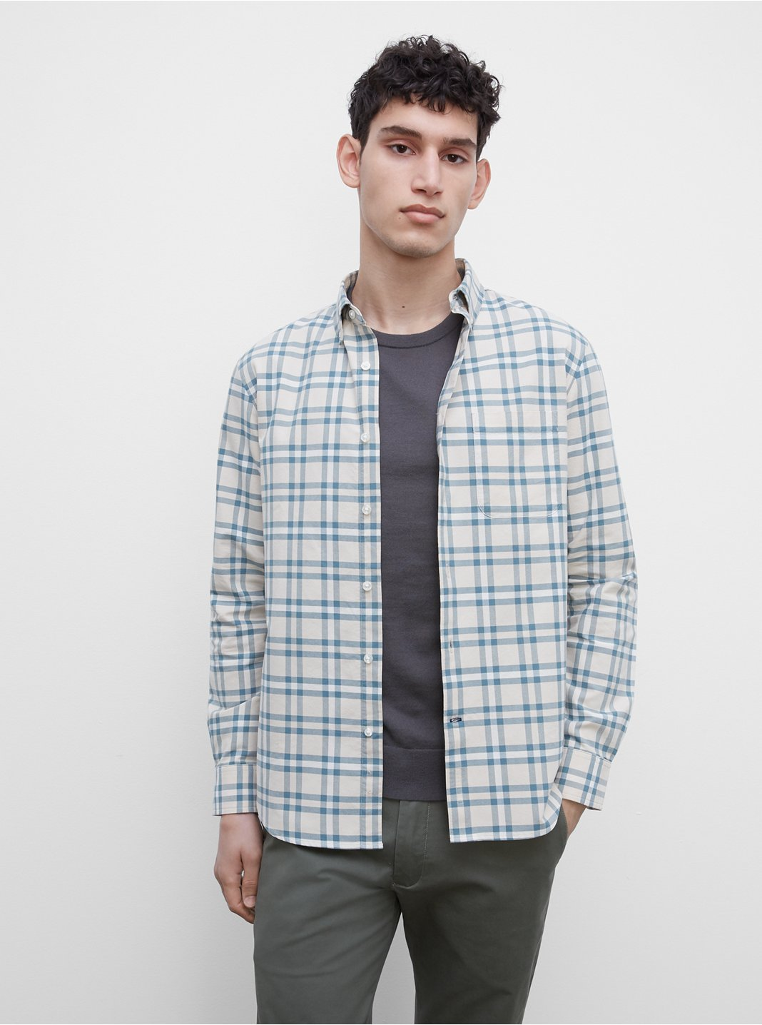 Long Sleeve Oxford Large Plaid Shirt