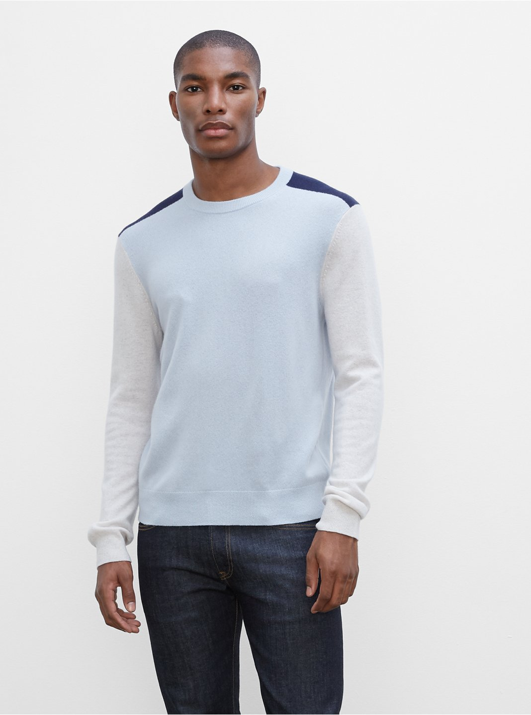 Cashmere Colorblock Crewneck Sweater