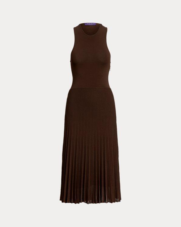 Pleated Racerback Knit Day Dress