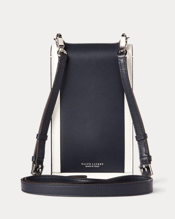 Calfskin Hinge-Lock Crossbody Wallet