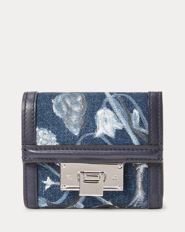Floral Denim Petite Hinge-Lock Wallet