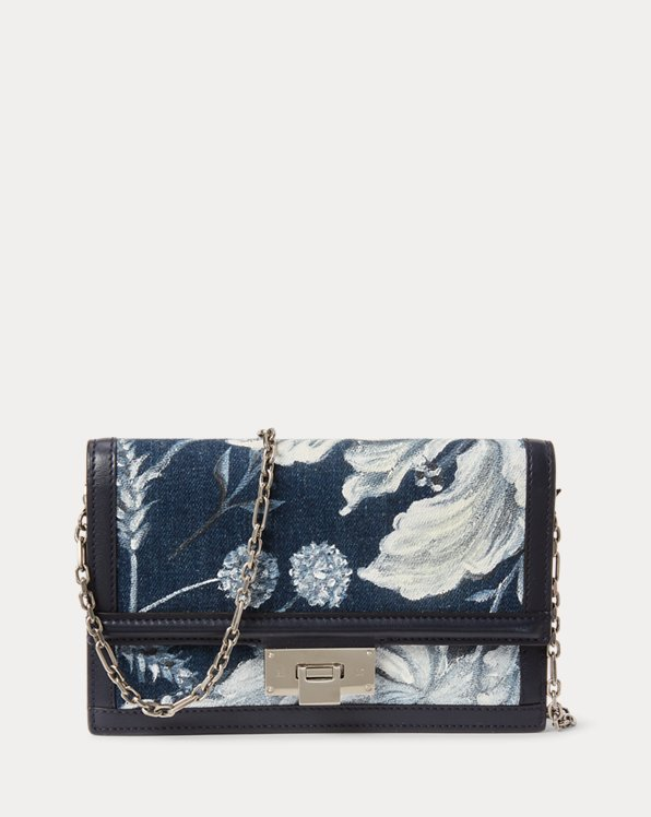 Floral Denim Hinge-Lock Chain Wallet