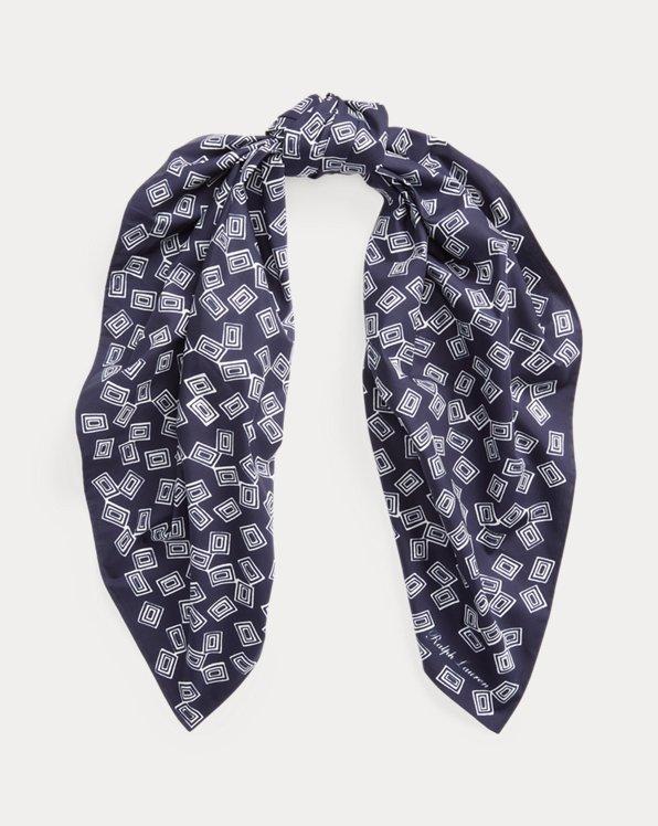 Fringe-Trim Art Deco Silk Oblong Scarf